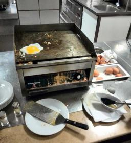 "The ""Fry your own egg"" station at the Holiday Inn Eindhoven"